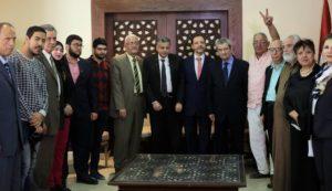 """وفد من """"التجمع"""" يزور السفارة السورية  للتضامن ضد الضربات الأمريكية"""